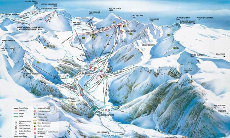 Plan des pistes du Mont-Dore